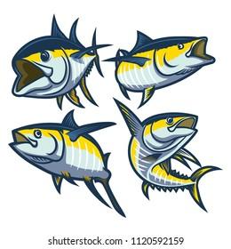 set of big fish yellowfin tuna illustration logo