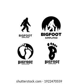 set of Big foot yeti logo icon design