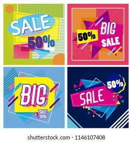 Set of big and mega sale posters