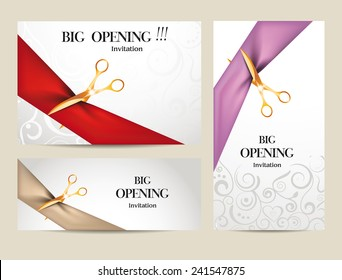 Opening ceremony images stock photos vectors shutterstock set of big opening invitation cards with ribbons and scissors stopboris Choice Image
