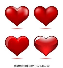 Set of Big Red Hearts, Vector Illustration