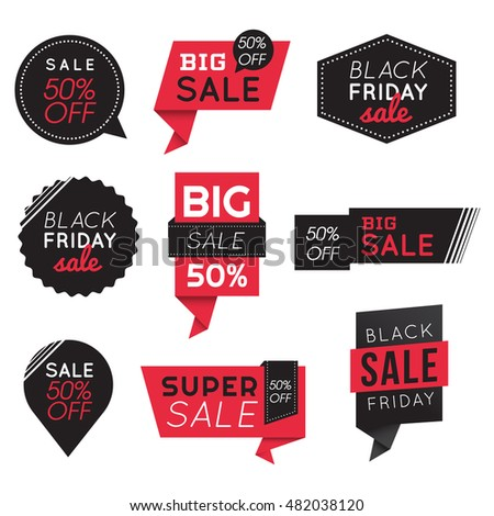 99cd8c31fe45 Set of Big Sale Discount Black Friday Banners, Labels, Badges. Promotion  Marketing. Vector illustration. - Vector