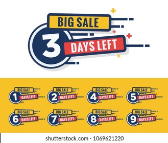 Set of Big Sale Three Days Left Badges and Stickers