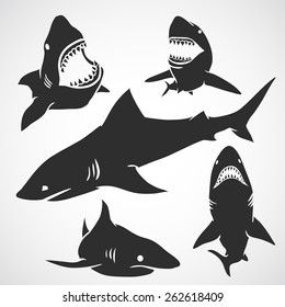 Set of big sharks black silhouettes. Vector illustration.