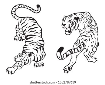 Set of big tigers. Collection of portraits of predatory wild cats. Set of wildlife and fauna dwellers. Vector illustration on a white background. Tattoo
