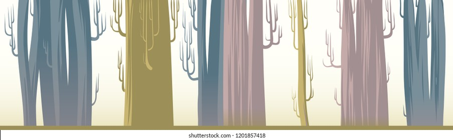 A set of big trees for bakgrounds. An illustration of huge leafless trees in ochre, dust pink and blue colors. A tall forest for animation BG. Flat baobabs for landscape woods themed designs.