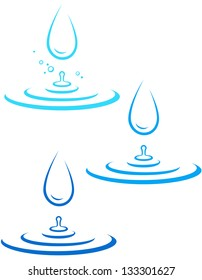 set with big water drop and blue wave on white background