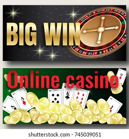 Set Big Win banners or flyers for online casino, poker, roulette, slot machines, card games. Elements for gambling