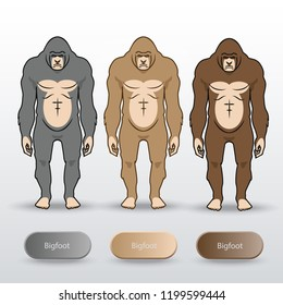 Set of Bigfoot Drawing Vector isolated on background