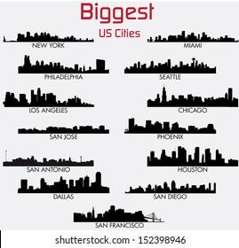 Set of Biggest American cities vector skylines