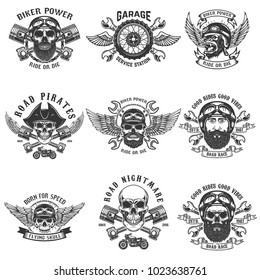 Set of biker emblems. Racer skull with crossed pistons. Extreme motorsport. Design elements for logo, label, emblem, sign. Vector illustration