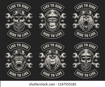 Set of biker emblems in vintage style. Vector illustration
