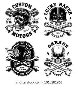 Set of Biker skulls. Motorcycle design templates on white background. Text is on the separate groups.