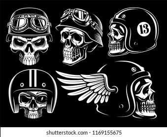 Set of biker skulls on dark background
