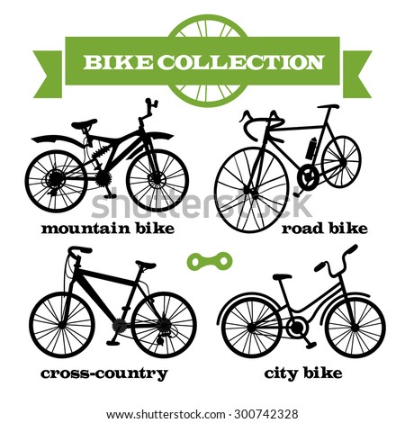 daefd36c3 Set Bikes Mountain Road Crosscountry City Stock Vector (Royalty Free ...