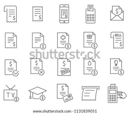 Set Bill Related Vector Line Icons Stock Vector (Royalty