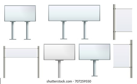 Set Billboard city Banner Stand on isolated clean background. Design template blank  big board city display template for designers. Vector illustration EPS 10. Advertising promotional presentation