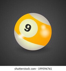 set of billiard balls, billiards, American ball number 9