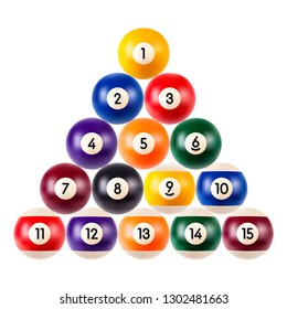 Set of billiard balls, a collection of all the pool balls with numbers isolated on white background, realistic illustration, eps 10