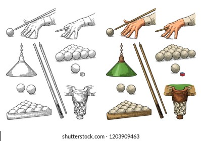 Set billiard. Hand holding stick cue, balls, chalk block, pocket and lamp. Vintage color engraving illustration. Isolated on white background. Hand drawn design element for label and poster