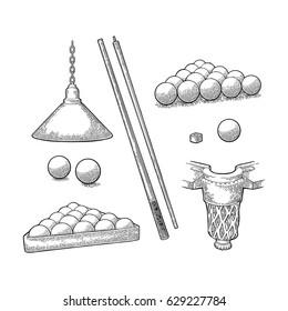Set billiard. Stick, balls, chalk, pocket and lamp.Vintage black engraving illustration for poster, web. Isolated on white background.