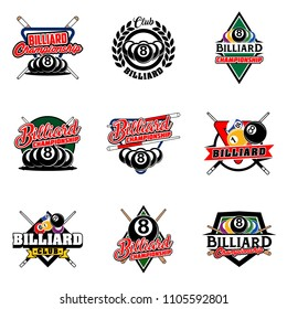 Set of billiards badges design logos with ball, sticks and simple text. Sport labels vector illustration for pool, poolroom or billiard club and team collection