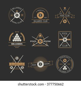 Set of billiards logos with simple text. Sport labels for poolroom, pool or billiards club.