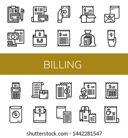 Set of billing icons such as Invoice, Bill , billing