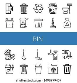 Set of bin icons such as Bin, Delete, Recycle bin, Recycle, Trash Mop, Garbage, Trash, Window cleaner, Waste ,