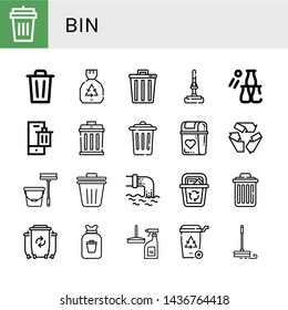 Set of bin icons such as Garbage bin, Bin, Garbage, Trash, Mop, Bottle throw, Recycle, Trash Waste, Recycle Delete, Rubbish, Window cleaner ,