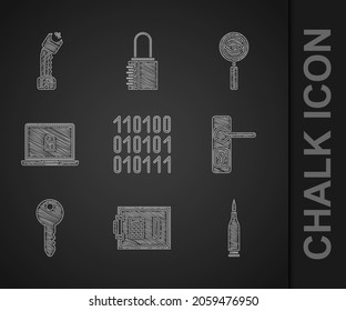 Set Binary code, Safe, Bullet, Door handle, Key, Laptop lock, Magnifying glass Search and Police electric shocker icon. Vector