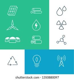 Set of bioenergy environmental line vector icons