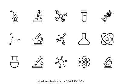 Set of bioengineering related vector line icons. Premium linear symbols pack. Vector illustration isolated on a white background. Web symbols for web sites and mobile app. Trendy design.