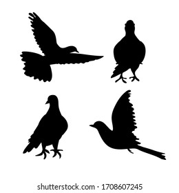Set of bird dove icon flying in sky and sitting. Flat cartoon character design. Black cute peace pigeon silhouette template. Vector illustration isolated on white background.
