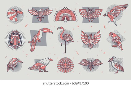 Set of bird icons. Abstract graphic design logo, badge, label, sticker. Vector stock illustration.