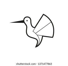 set of bird icons in flat graphic style drawing - Hummingbird - Vector