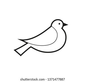 set of bird icons in flat graphic style drawing - Dove - Vector
