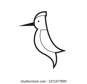 set of bird icons in flat graphic style drawing - Woodpecker - Vector