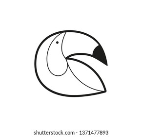 set of bird icons in flat graphic style drawing - Toucan - Vector