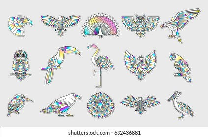 Set of bird patches. Abstract graphic design logo, badge, label, sticker. Vector stock illustration.