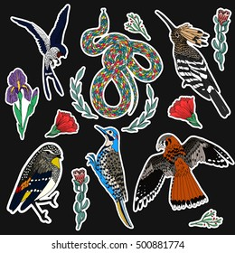Set of bird patches elements. Set of stickers, pins, patches and handwritten notes collection in cartoon 80s-90s comic style.Vector stikers kit