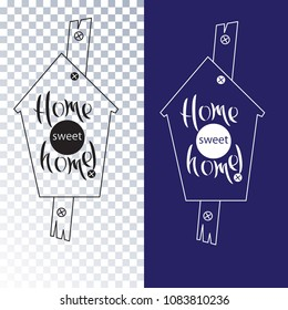 A set of birdhouses. Manual writing. Home Sweet Home. Vector lettering. Isolated object for composition