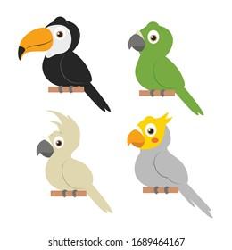 Set of birds. Bright exotic tropical birds.