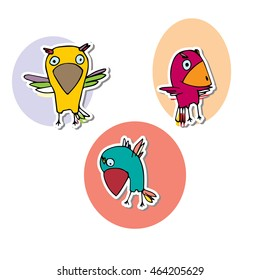 Set of birds in colorful circles. Three feathered animals with black outline hand drawn illustration. Doodles characters parrot simple form. Small colorful birds in different poses