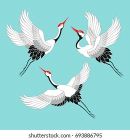 Set of birds. Crane, stork, heron. Vector.