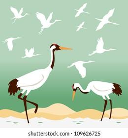 Set of birds - flying cranes