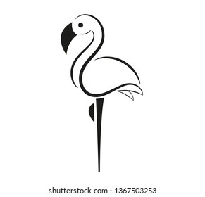 Set of birds icons in flat graphic style drawing - Flamingo icon - Vector