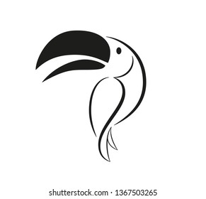 Set of birds icons in flat graphic style drawing - Toucan icon - Vector