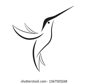 Set of birds icons in flat graphic style drawing - Hummingbird icon - Vector