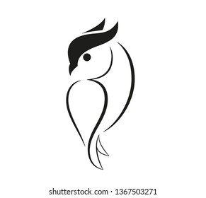 Set of birds icons in flat graphic style drawing - Owl icon - Vector